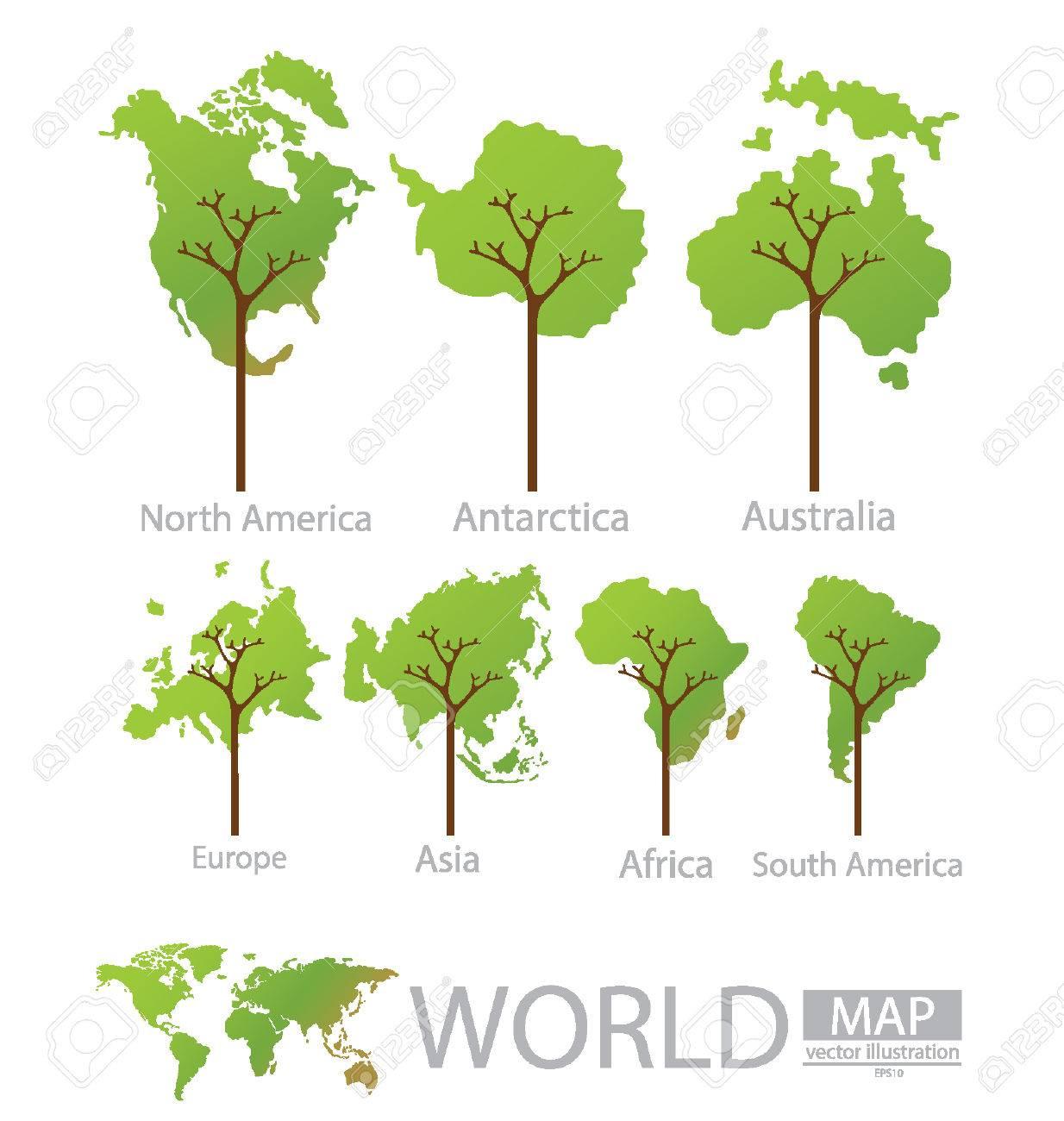 tree design africa antarctica asia australia europe royalty