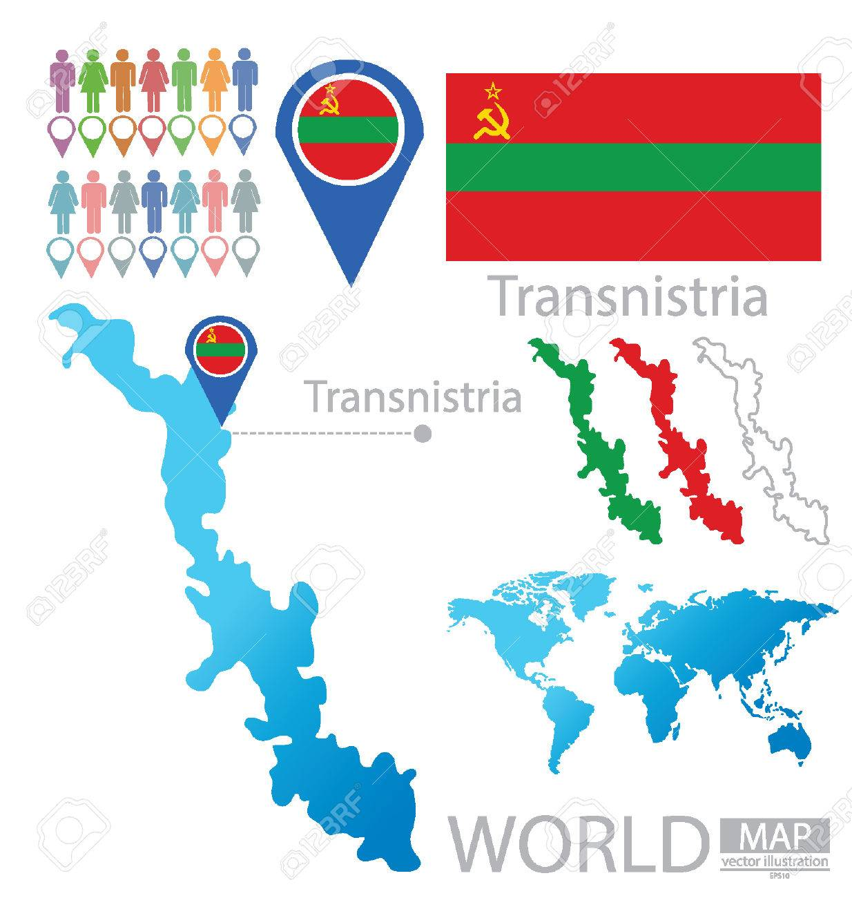 Transnistria Pridnestrovian Moldavian Republic Vector Illustration