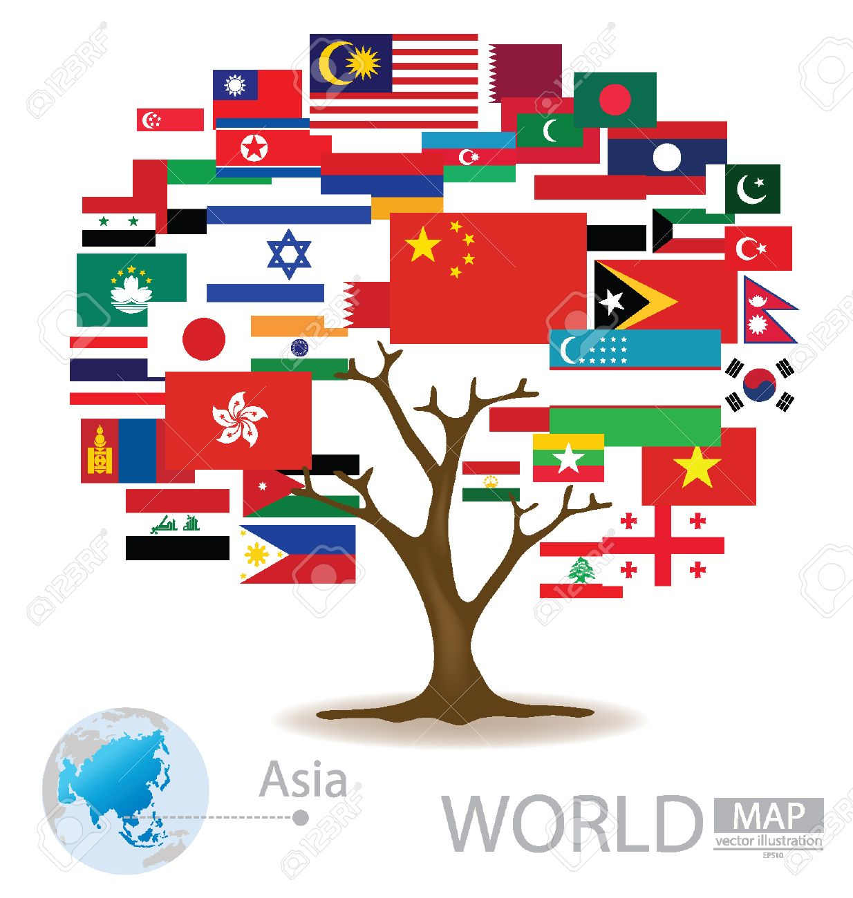 Tree design countries in asia flag world map vector illustration tree design countries in asia flag world map vector illustration stock vector gumiabroncs Images
