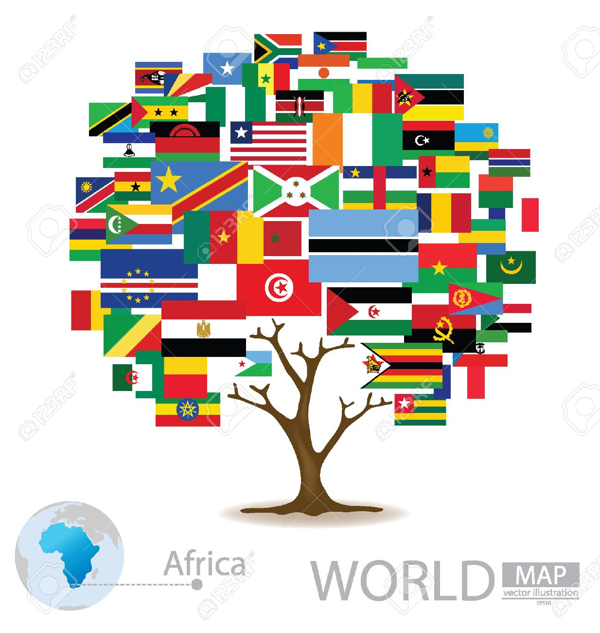 Flag World Map.Tree Design Countries In Africa Flag World Map Vector