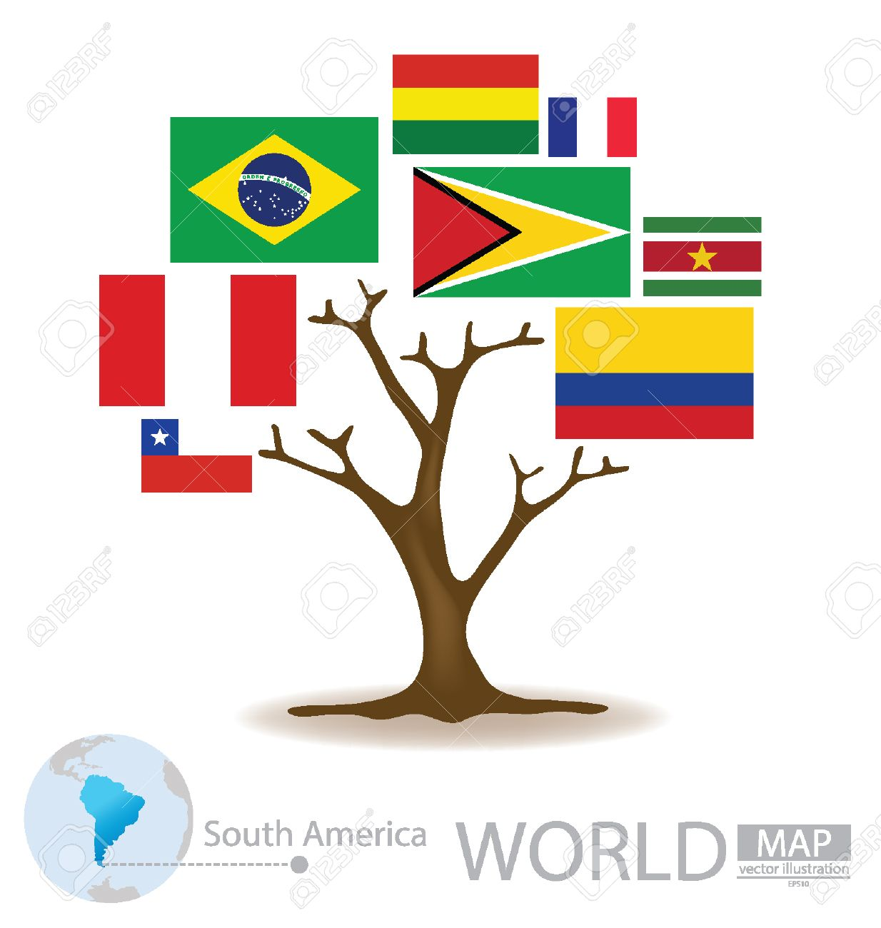 Tree Design Countries In South America Flag World Map Vector - South america map and flags