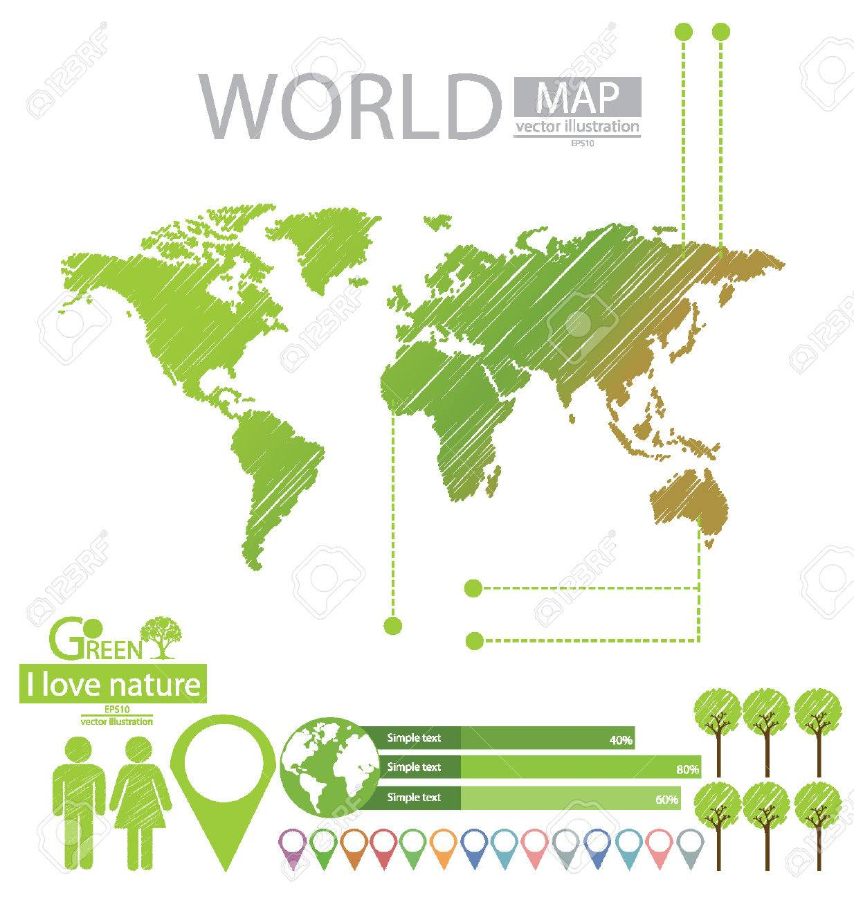 info graphics tree sketch go green world map vector illustration stock vector