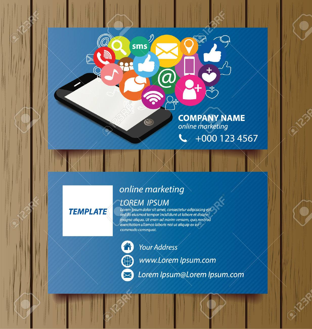 Business Card Template For Online Marketing Vector Royalty Free - Business cards online template