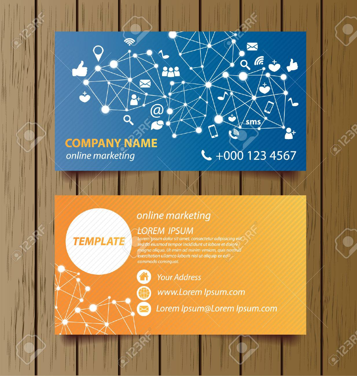 Business Card Template For Online Marketing Vector Royalty Free