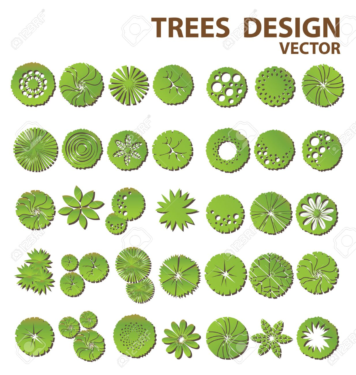 Trees Top View For Landscape Design Royalty Free Cliparts Vectors
