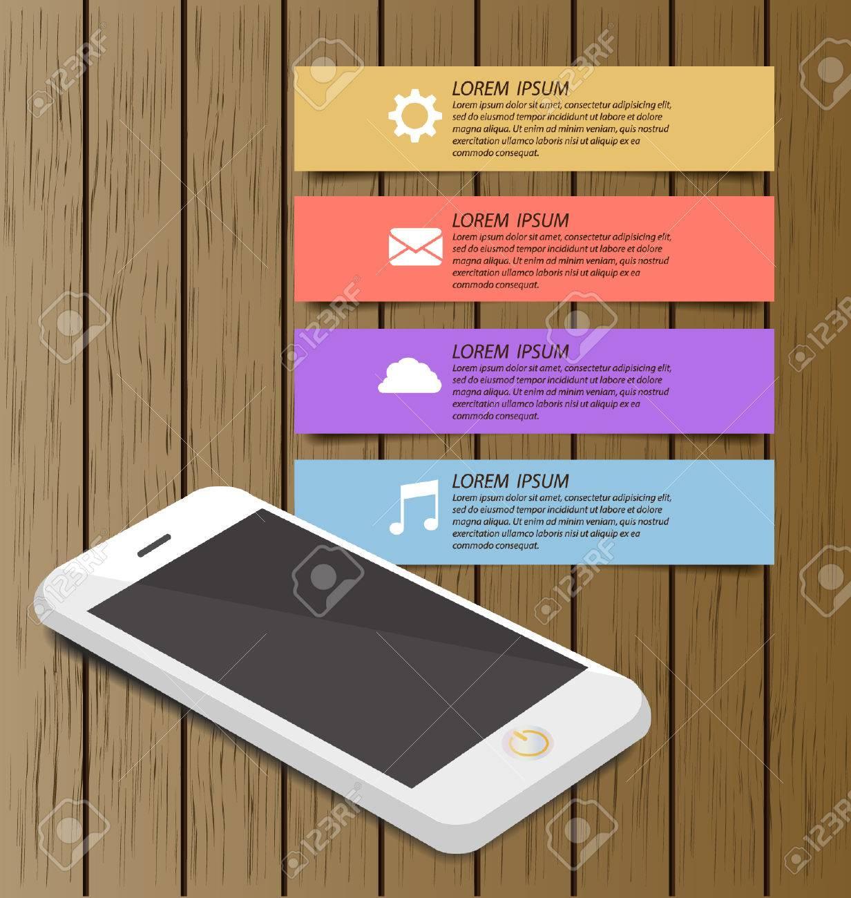 Smartphone Con El Fondo De Librería De Madera En La Pantalla Para El ...