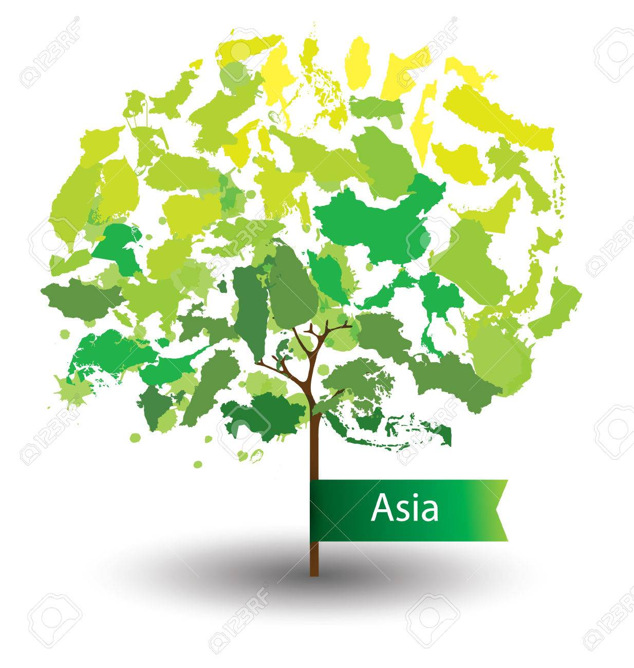 Tree design countries in asia world map vector illustration countries in asia world map vector illustration stock vector 39268097 gumiabroncs Images