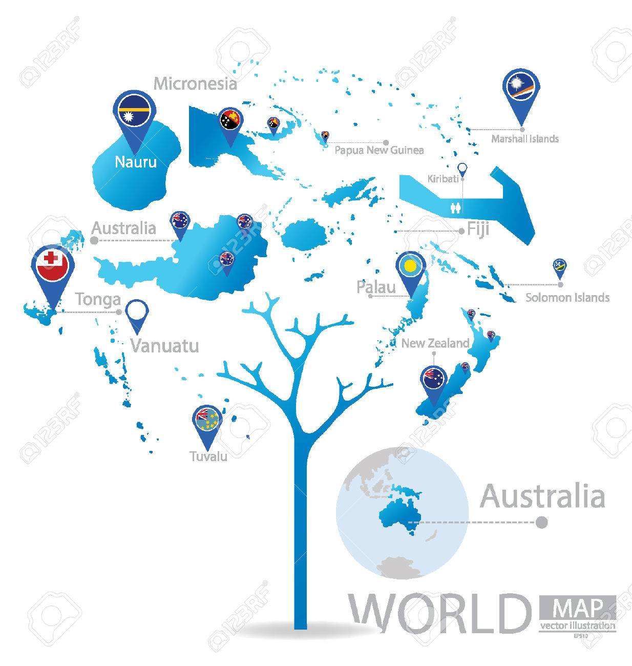 Tree Design Countries In Australia World Map Vector Illustration - Austrailia world map