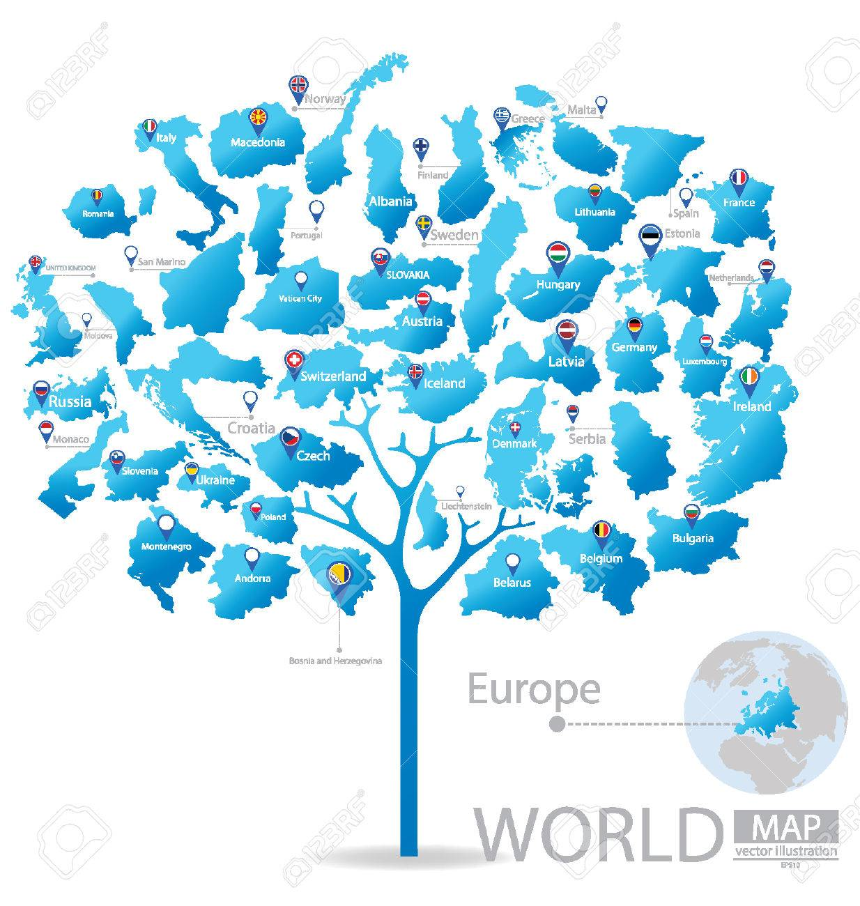 Tree design countries in europe flag world map vector tree design countries in europe flag world map vector illustration stock vector gumiabroncs Images