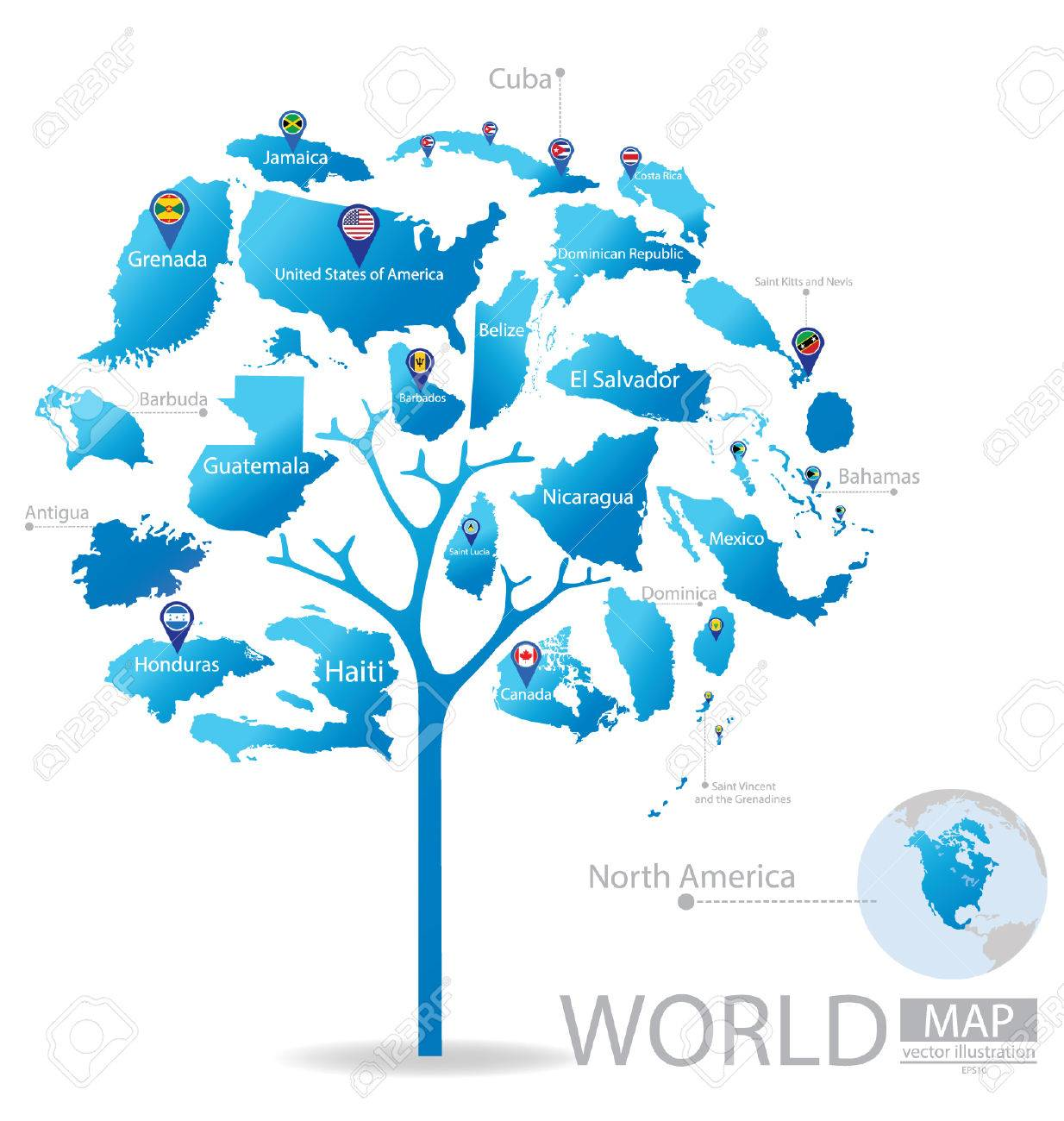 Tree design countries in north america world map vector countries in north america world map vector illustration stock vector gumiabroncs Gallery