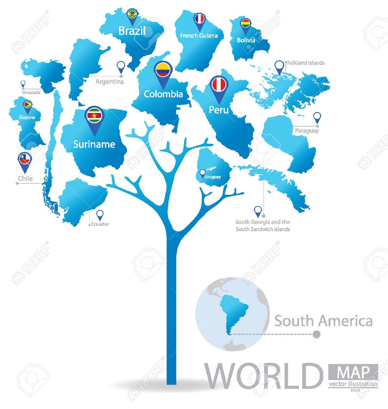Tree design countries in south america world map vector countries in south america world map vector illustration stock vector gumiabroncs Gallery