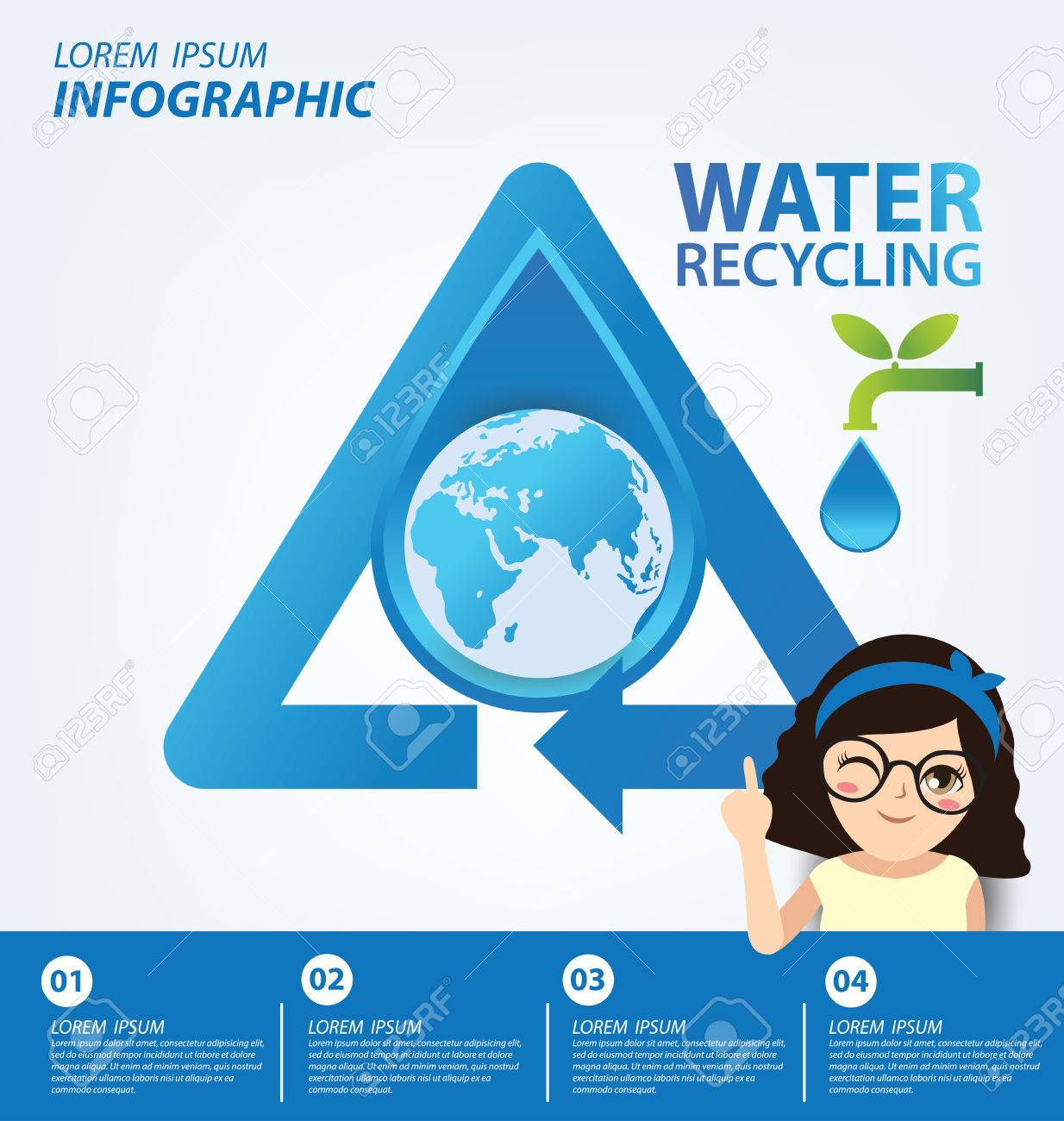 Water Recycling Save Water Concept Infographic Template Vector