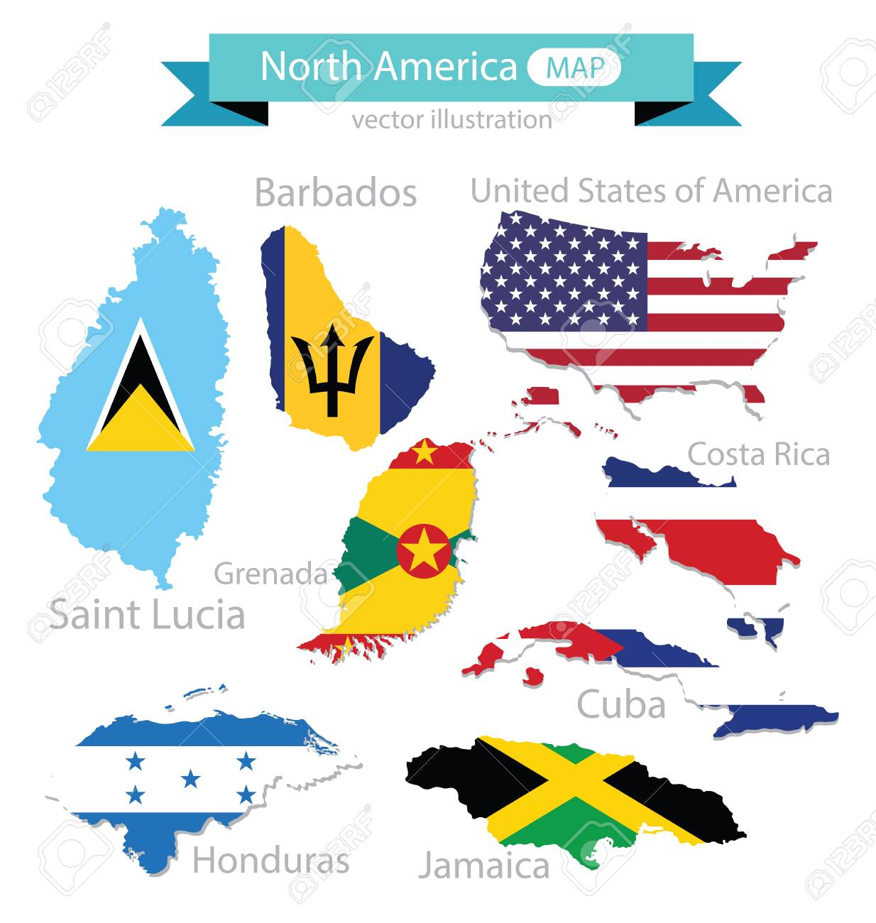 Map Flag Of North America Vector Illustration Royalty Free