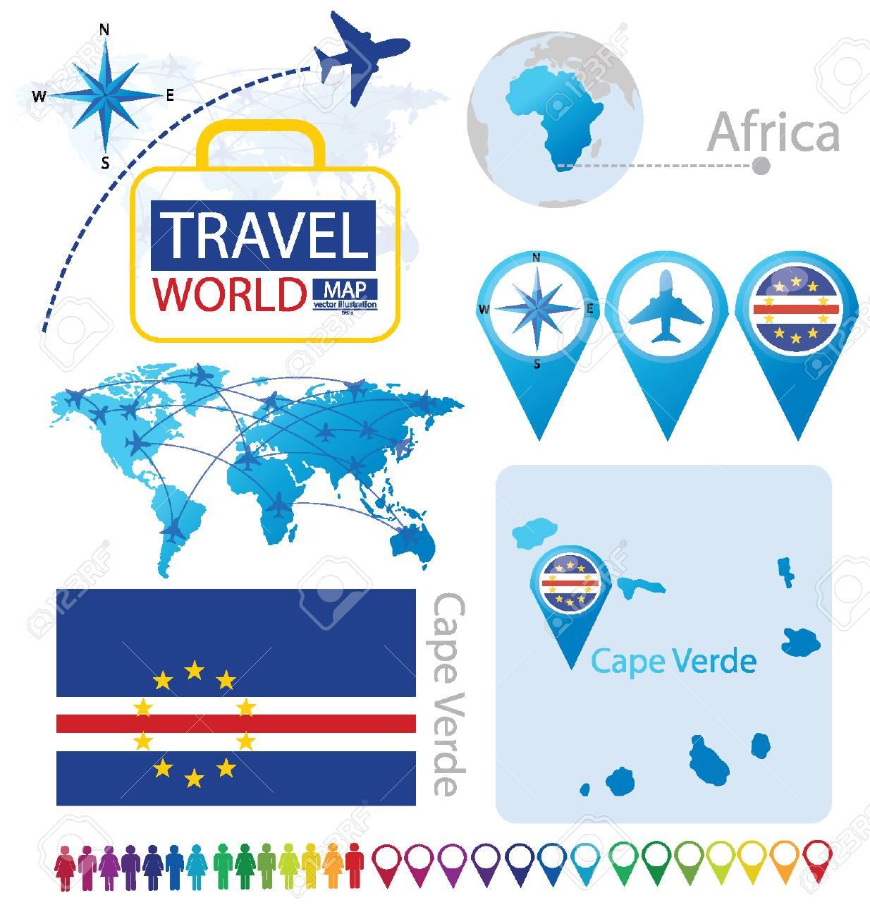 Cape Verde Flag World Map Travel Vector Illustration Royalty
