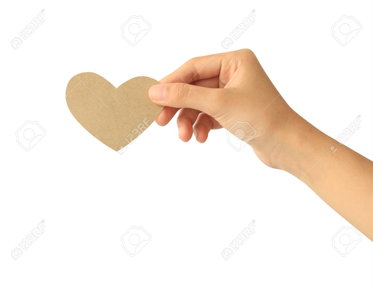 Woman hand holding paper heart isolated on white background - 110093370