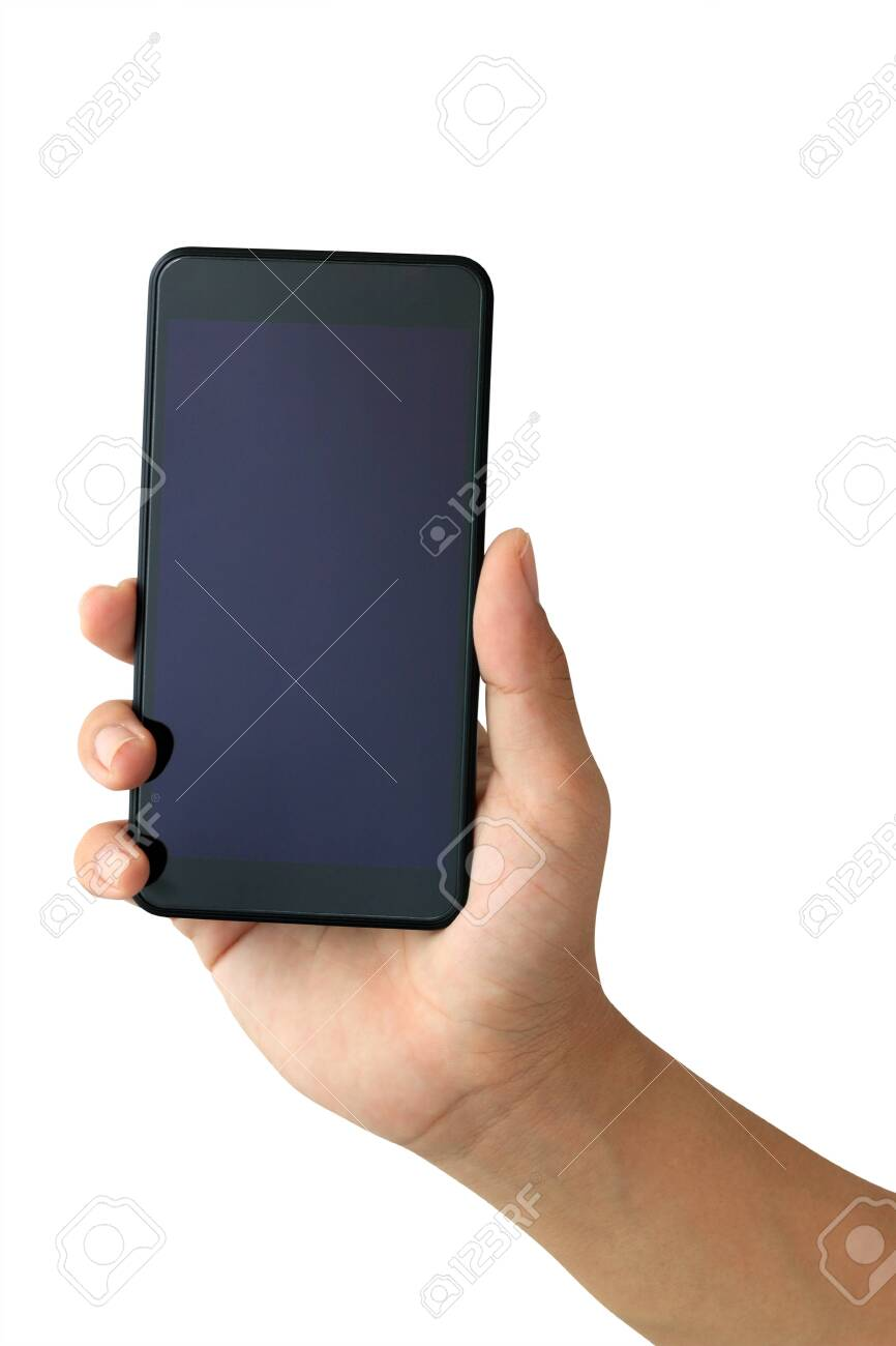 Hand holding Smartphone with blank screen on white background - 134006785