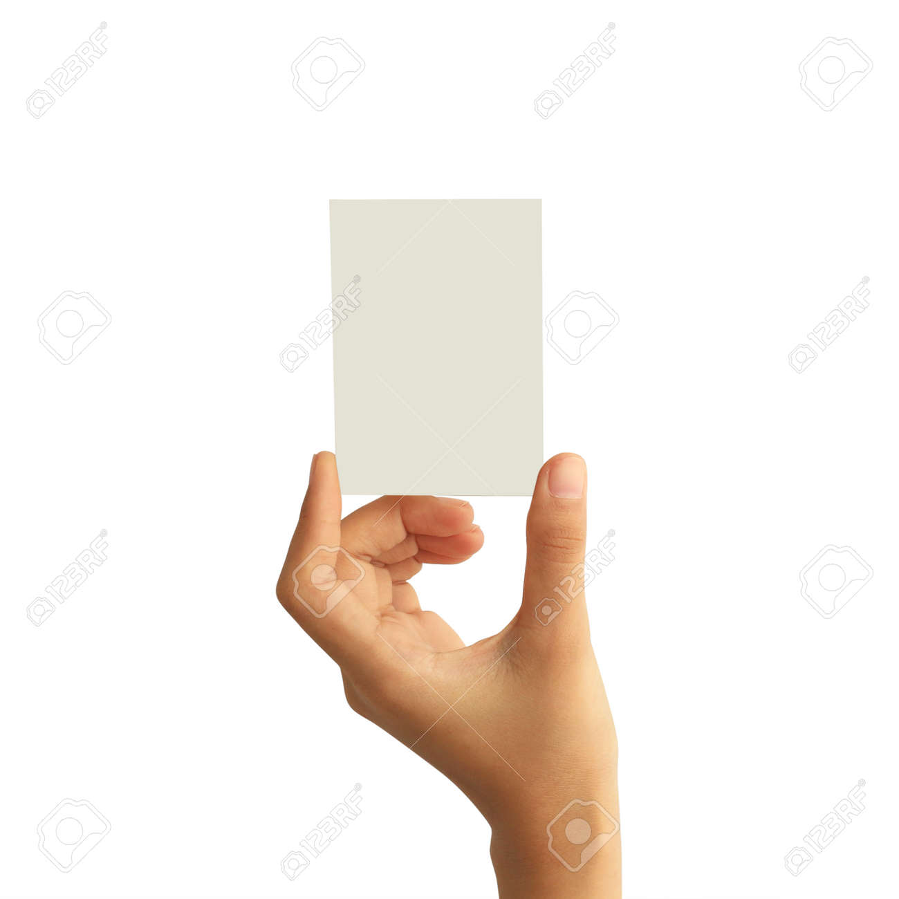 Woman hand holding blank paper business card isolated on white background - 134238452