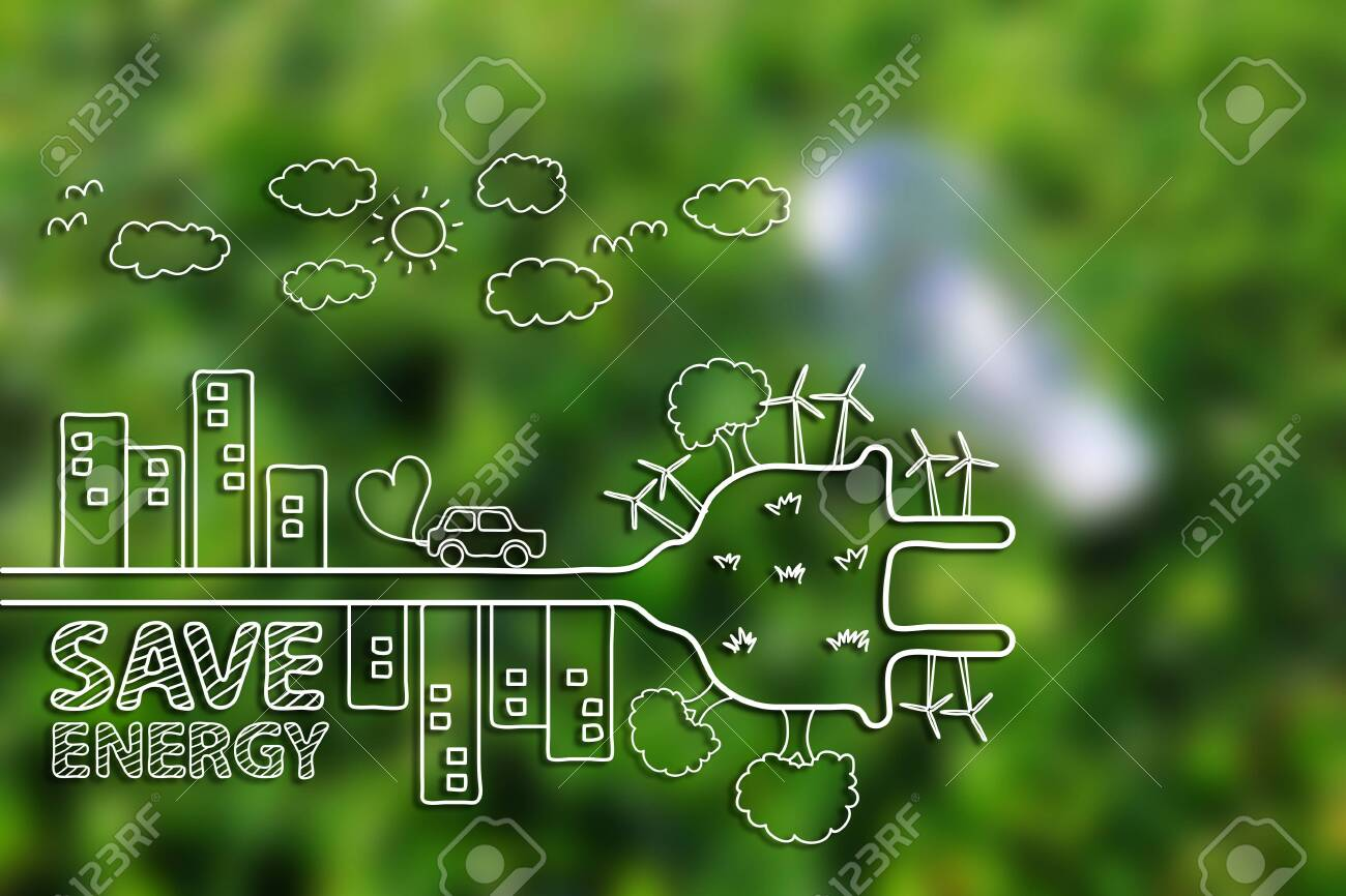 Creative drawing ecology concept on green grass background. - 140707735
