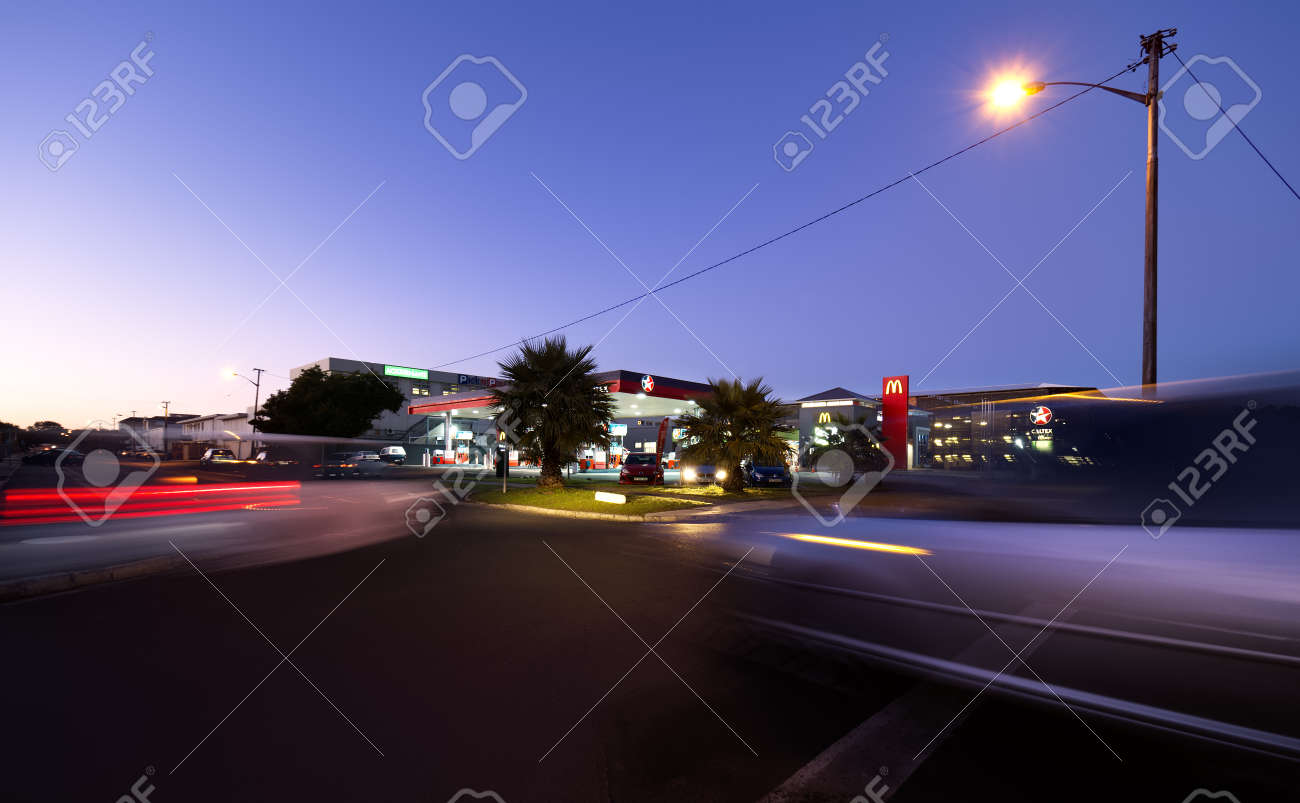Long exposure of the morning traffic at the Caltex Service Station in Pinelands, Cape Town, South Africa on 15 July 2021. - 171963374