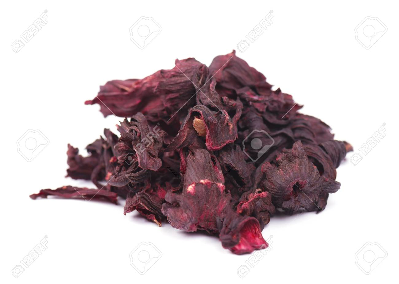 Dried Hibiscus Flowers Hibiscus Tea Close Up Isolated On White