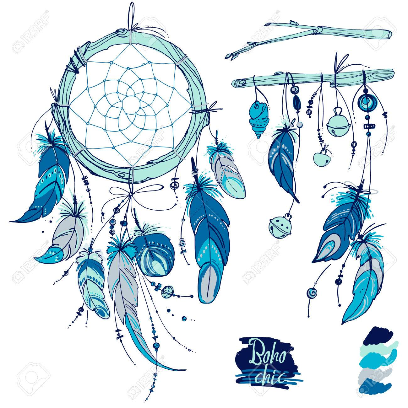 Dreamcatcher, Set of ornaments, feathers and beads. Native american indian dream catcher, traditional symbol. Feathers and beads on white background. - 55375775