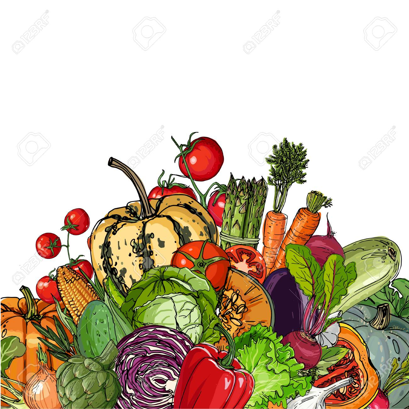 Square of colored vegetables - 102050863
