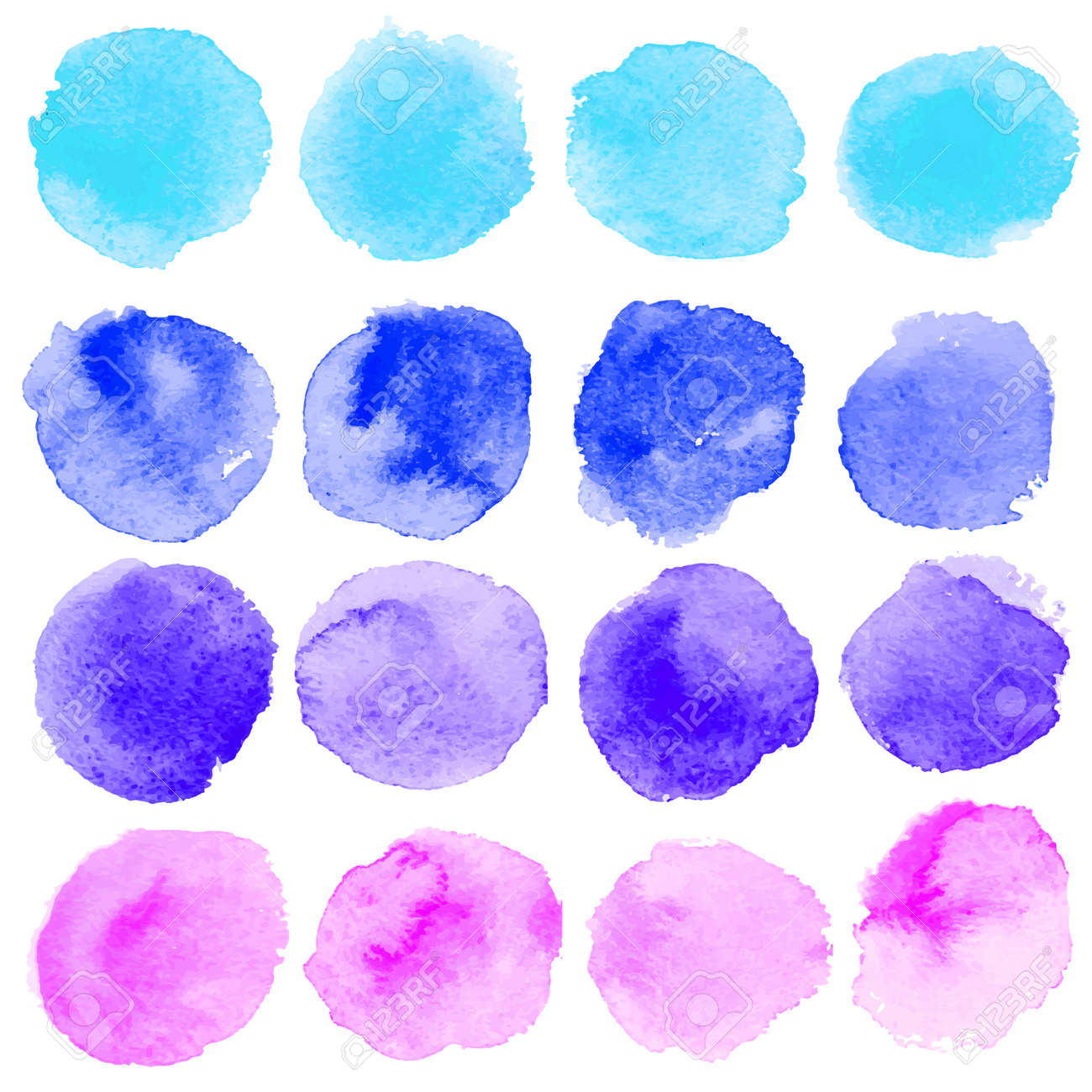 Set of watercolor blobs, isolated on white background. Vector illustration texture - 167329608