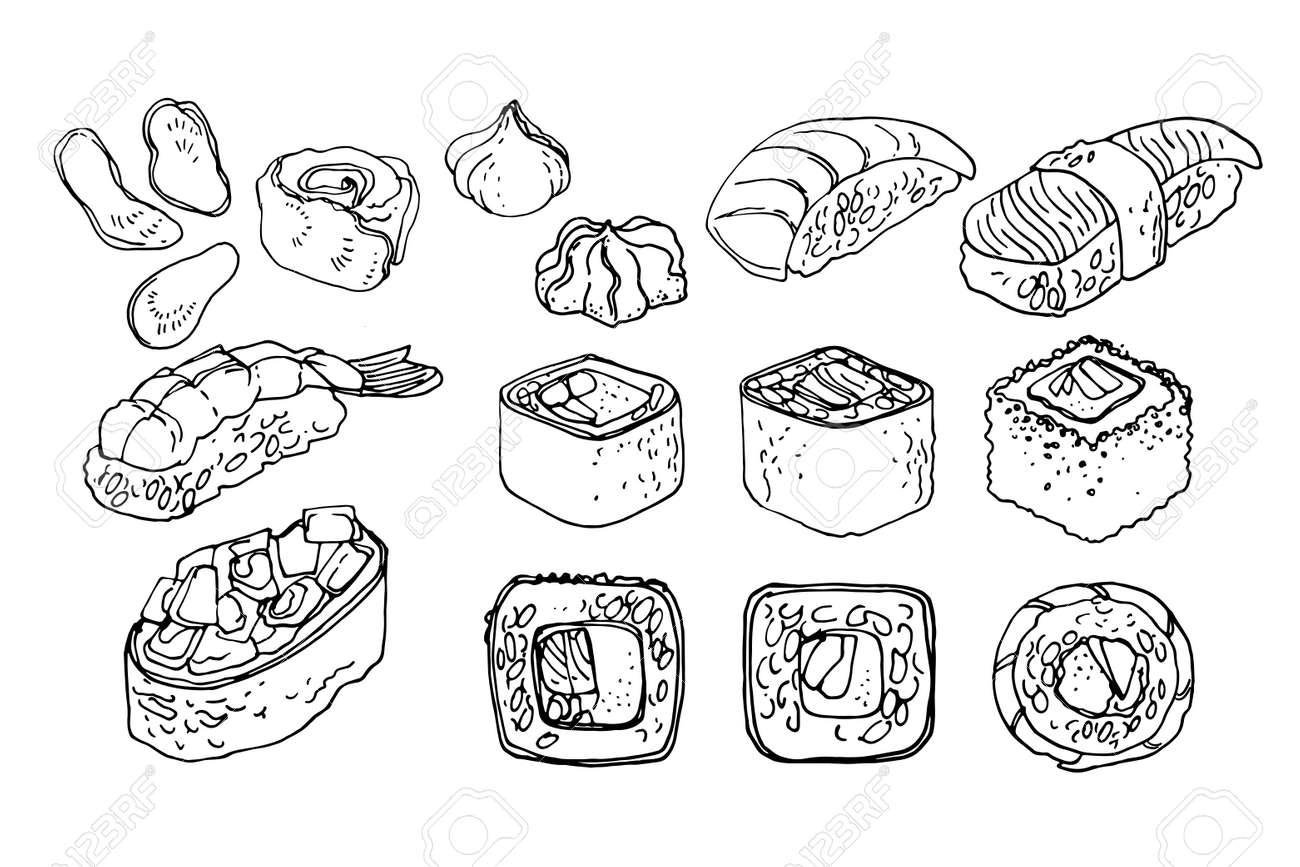 Japanese food, sushi and rolls, unagi. Vector drawing of food. - 170893627