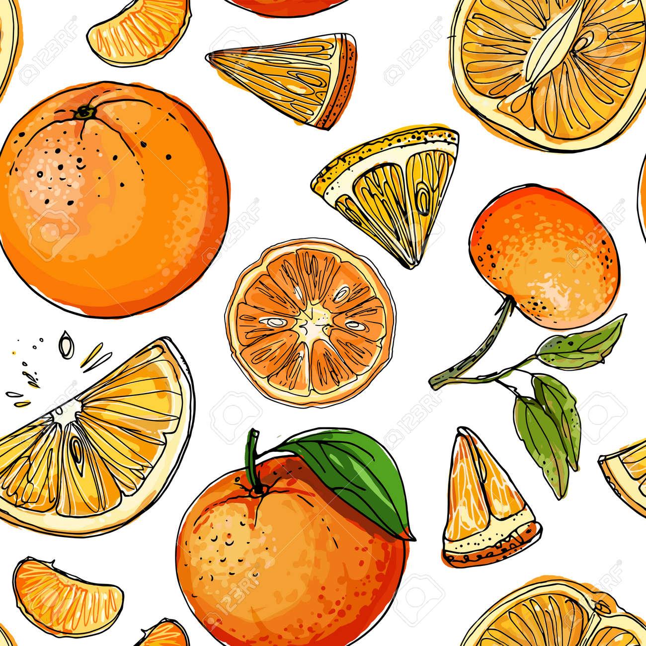Pattern with citrus fruits orange. Vector food sketch. Exotic food drawings - 170860697