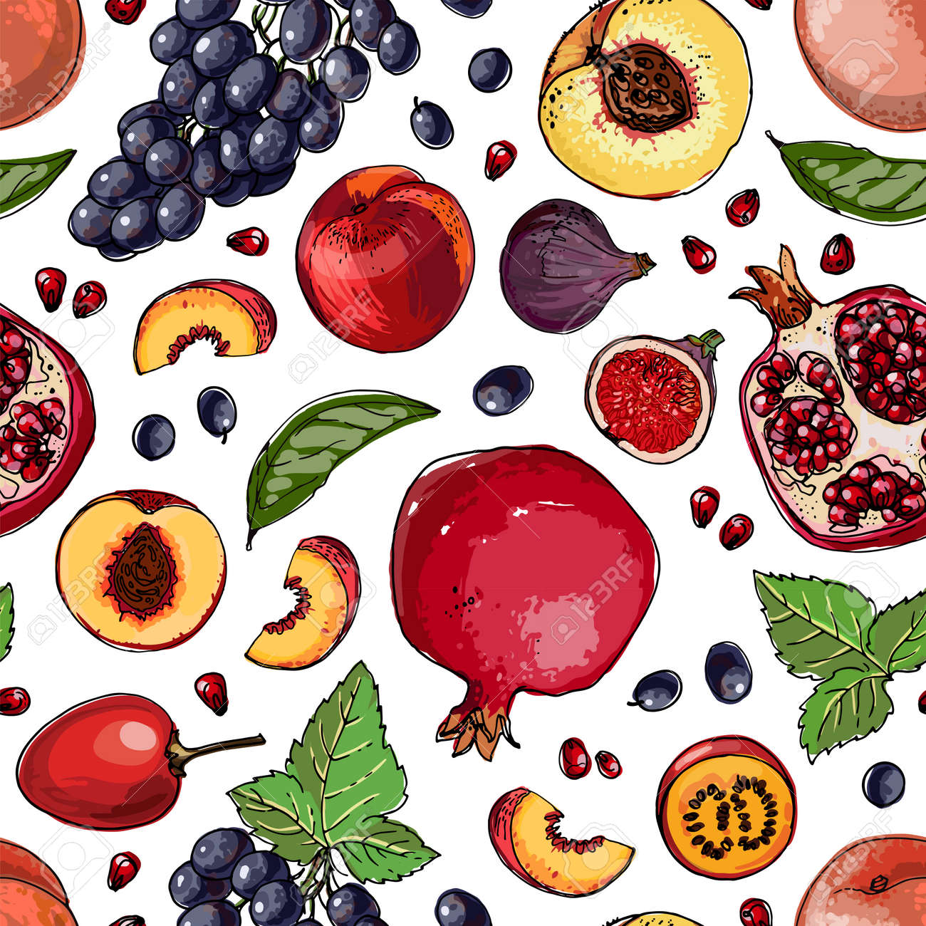 Seampless pattern vector color food. Exotic fruits and berries - 171951926