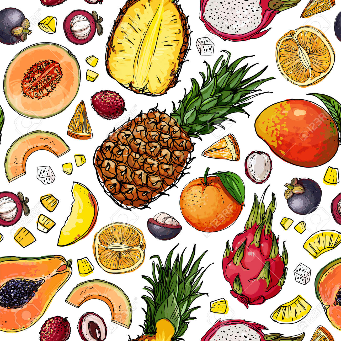 Seampless pattern vector color food. Exotic fruits and berries - 171951928