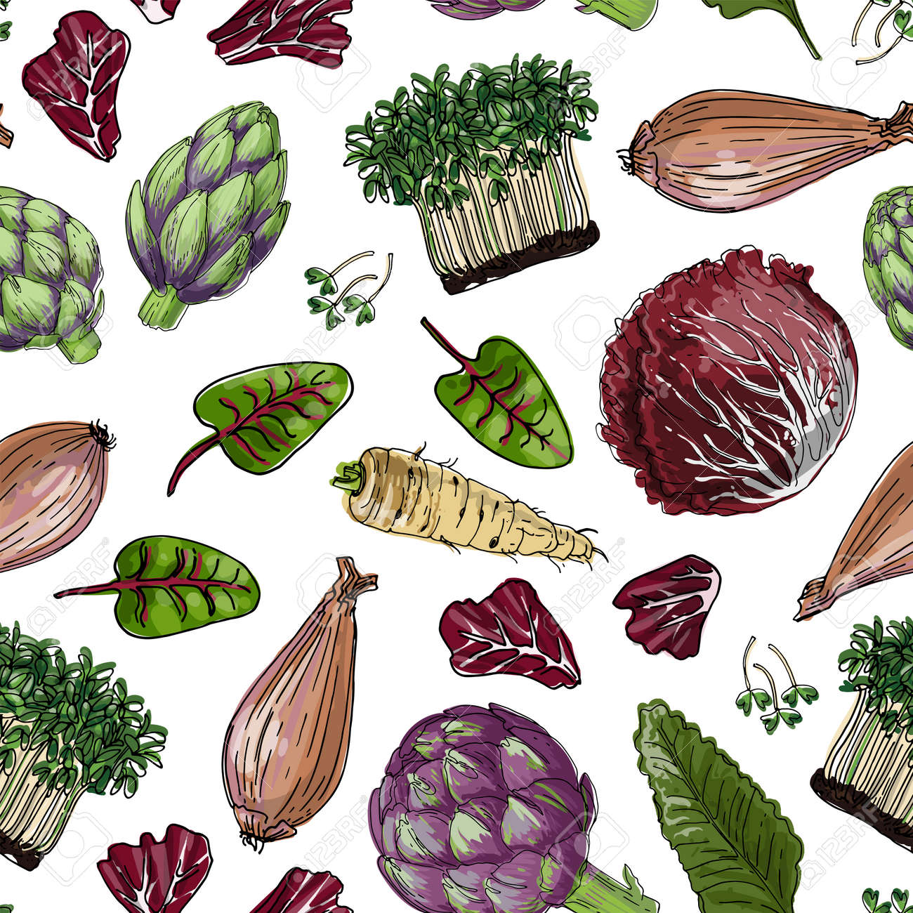 Seampless pattern vector color food. Vegetables, paprika, cucumbers, olives - 171951930