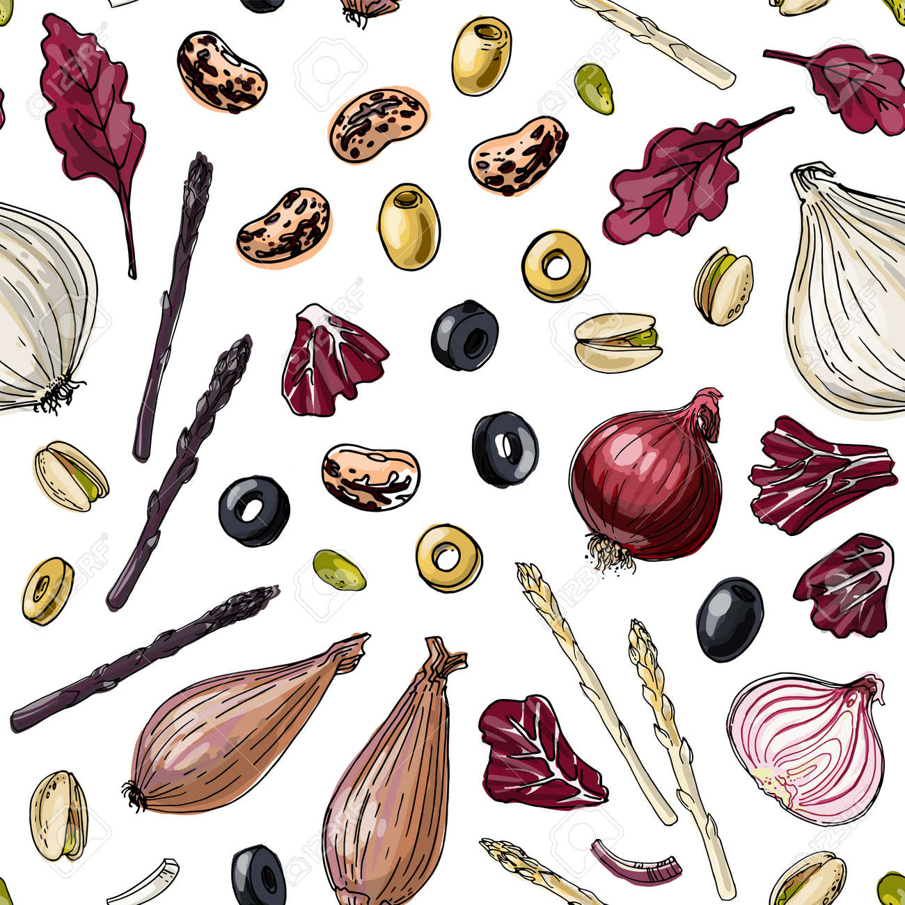 Seampless pattern vector color food. Vegetables, paprika, cucumbers, olives - 171951932