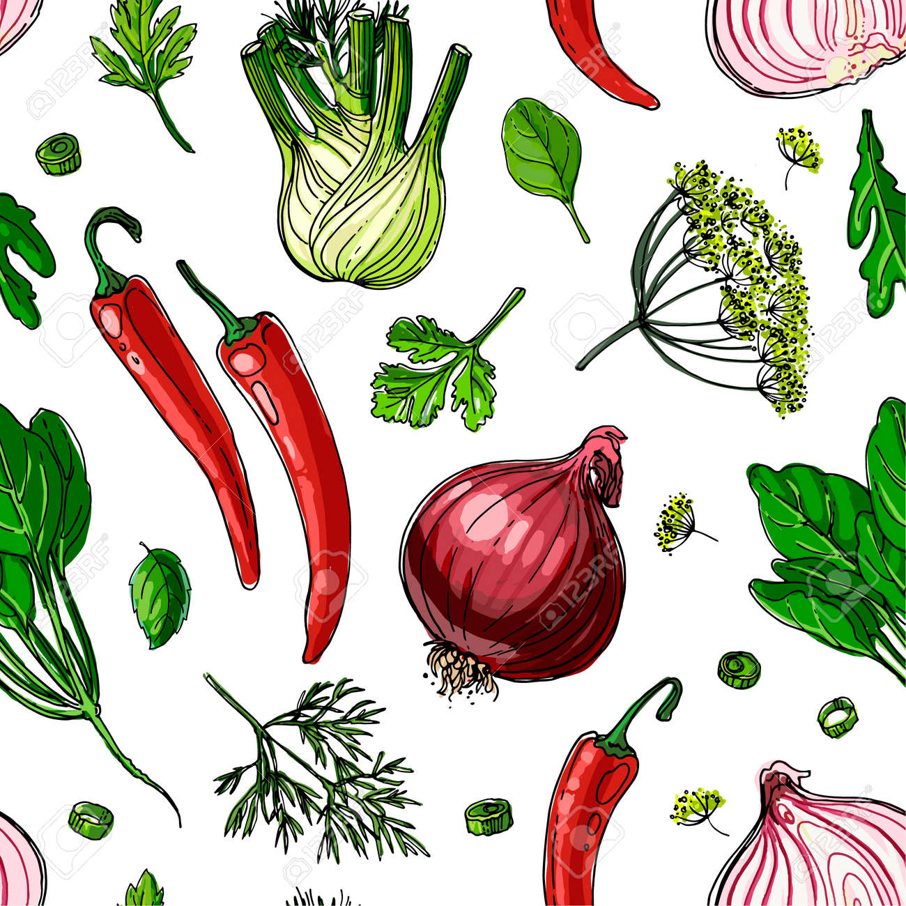 The pattern of painted colored vegetables line drawn on a white background. Sketch autumn harvest. - 173006146