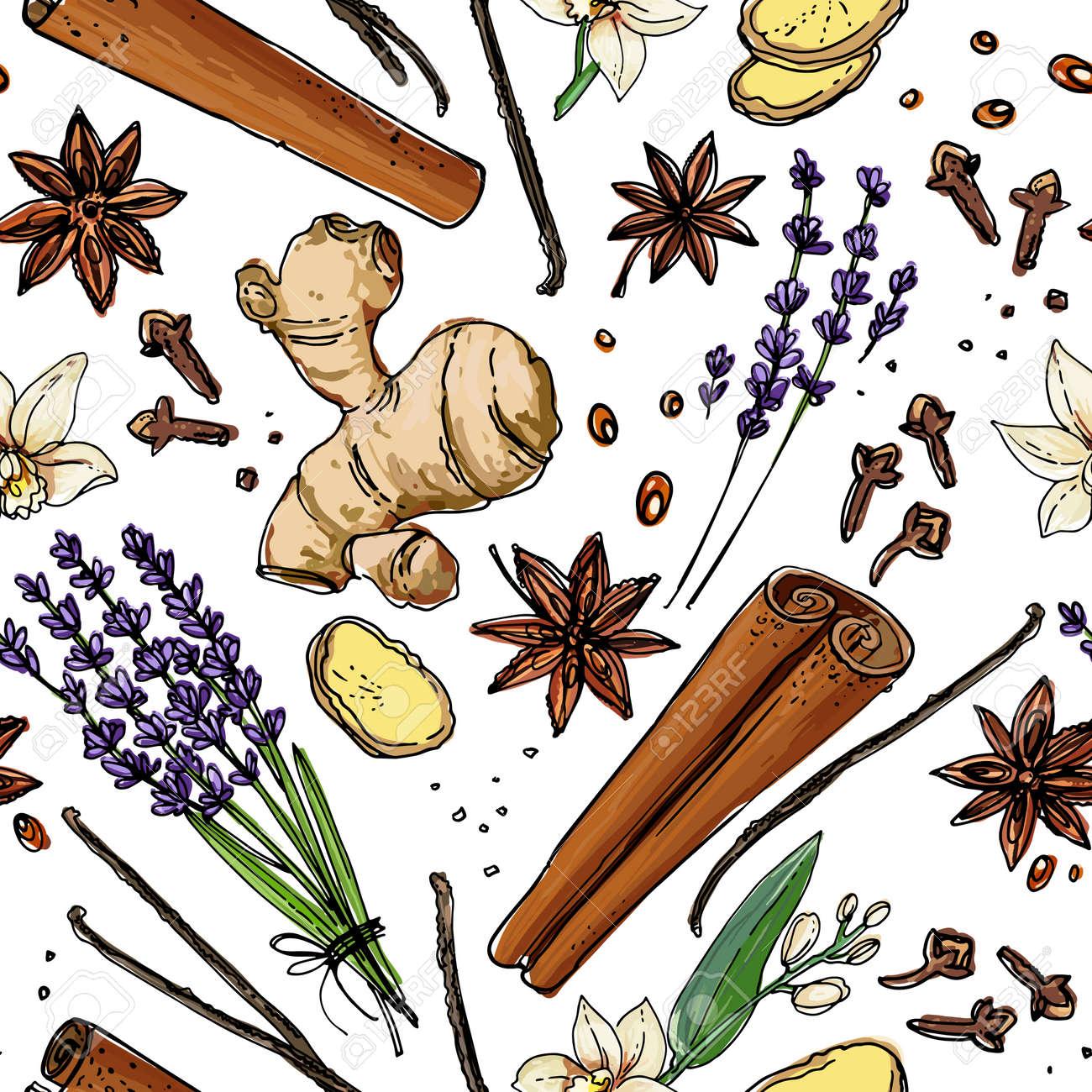 Vector pattern Nuts. Colored sketch of food. Farm peanuts, walnuts, cashews, almonds, hazelnuts - 173006149