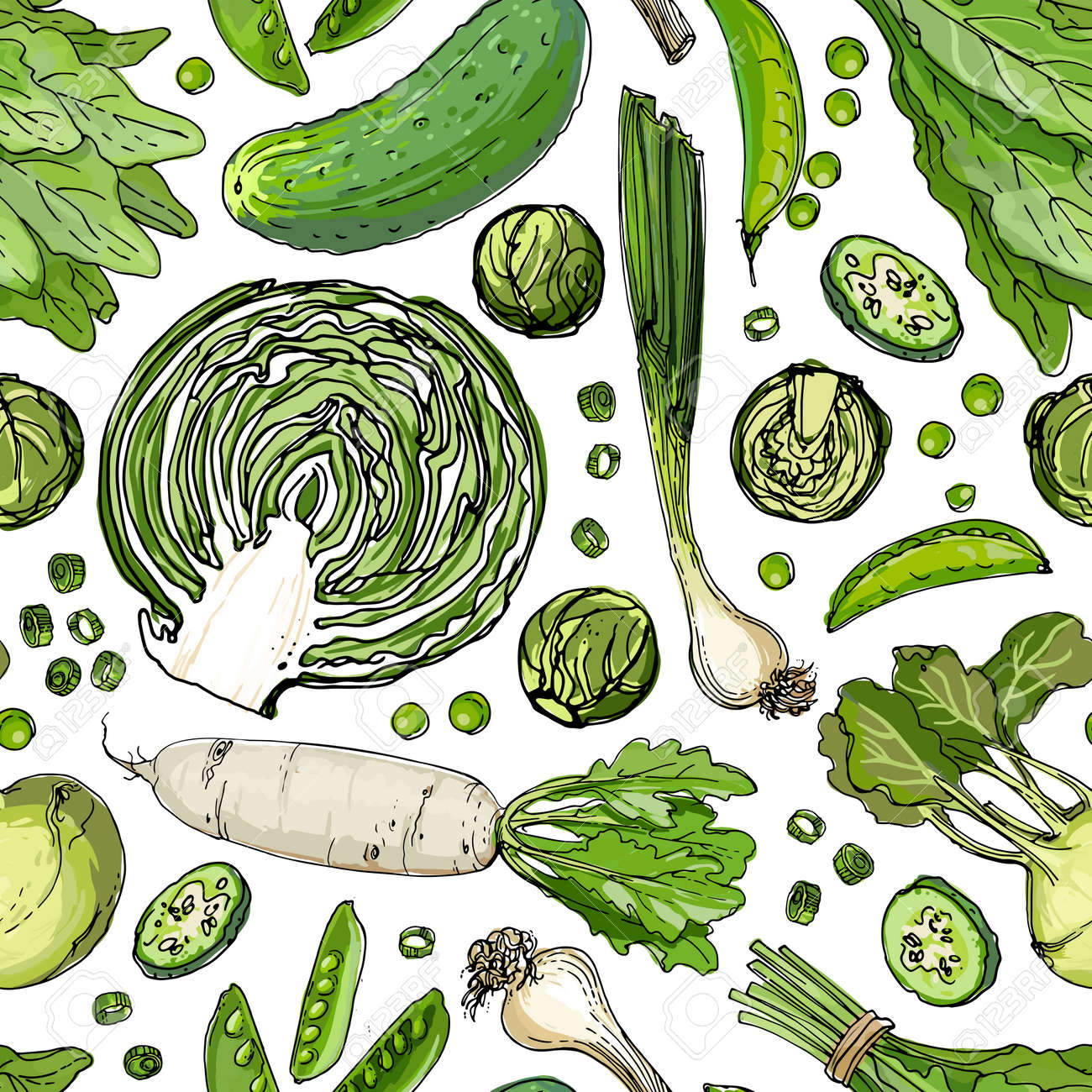 Seamless pattern vector vegetable food. Herbs and spices, tomatoes and spinach - 173006169