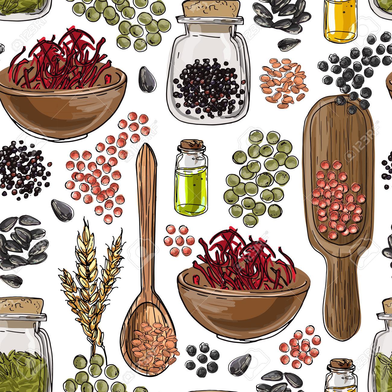 Vector pattern Nuts. Colored sketch of food. Farm peanuts, walnuts, cashews, almonds, hazelnuts - 173006172