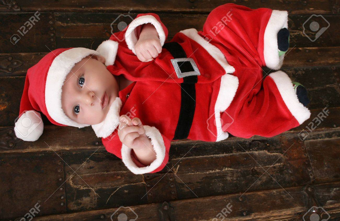 9d3e4ec23 Cute 6 Week Old Baby Boy In Christmas Suit Stock Photo, Picture And ...