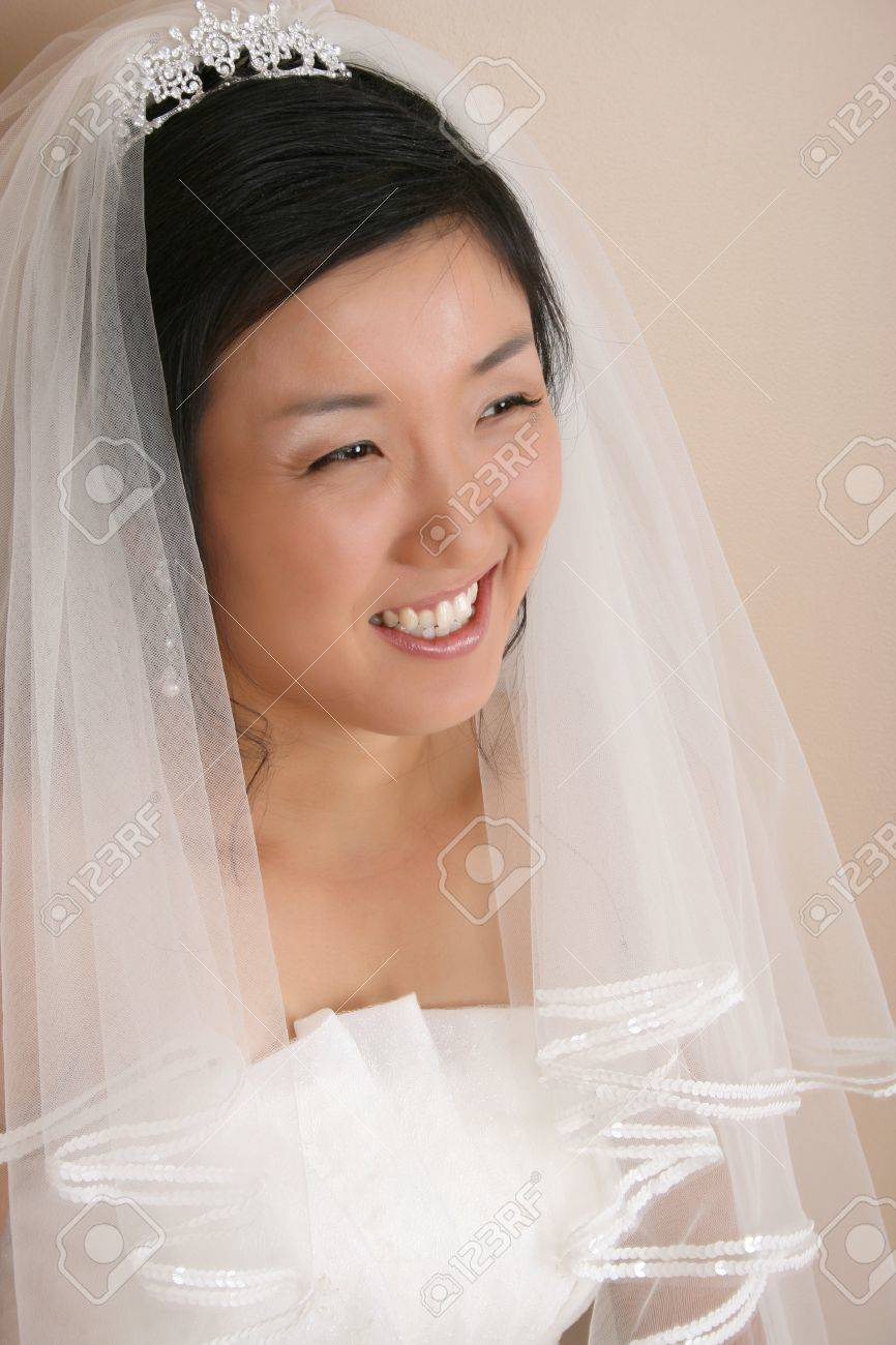 Beautiful Korean Bride Wearing A Traditional Wedding Gown