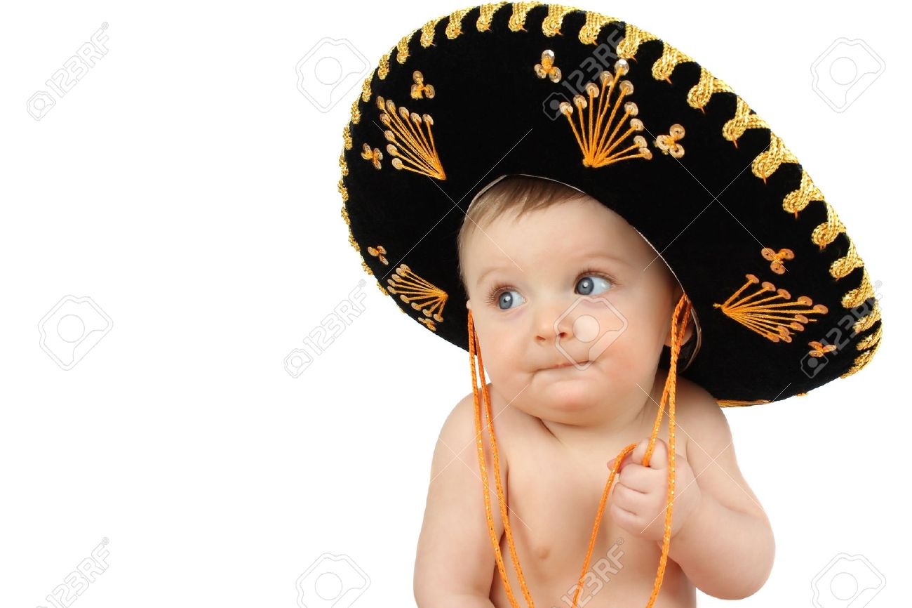 6 month old baby boy wearing a Mexican hat Stock Photo - 9697994 7e554bffac8