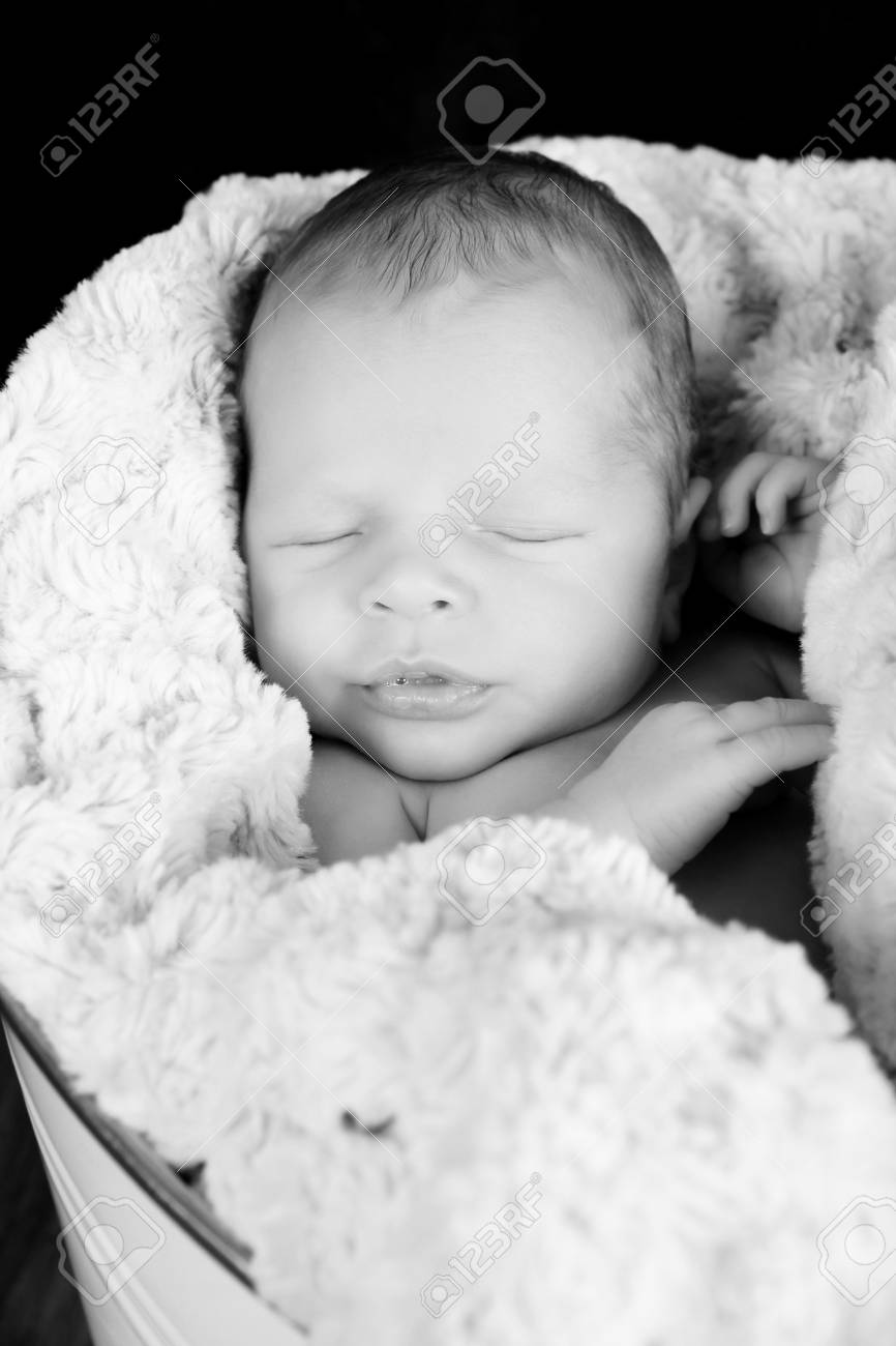 Newborn Baby Boy Wrapped In Warm Blue Blankets Stock Photo Picture
