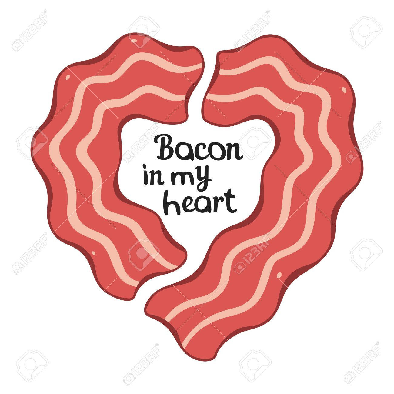 Heart design t shirt - Bacon Heart Design Template For T Shirt Or Other Works Stock Vector 44276466