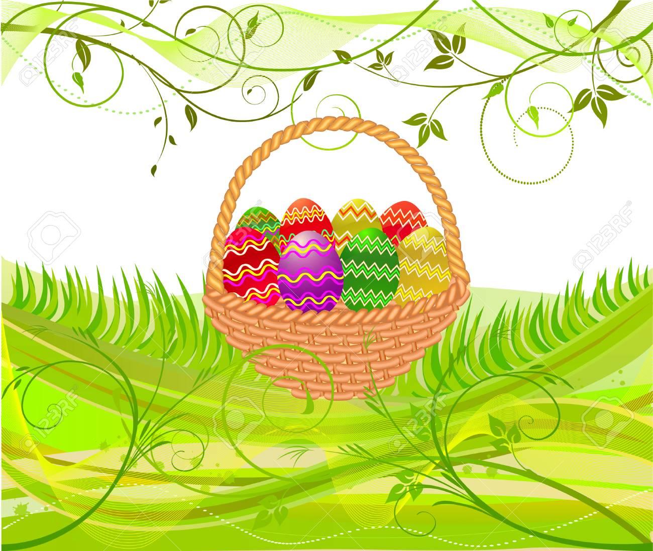 Easter egg in basket - vector Stock Vector - 2571342