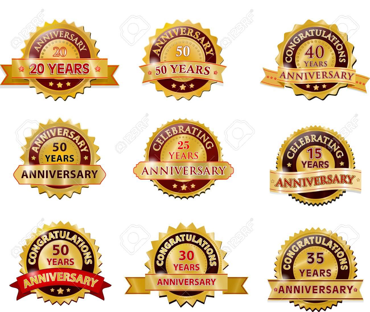 Anniversary gold badge set Stock Vector - 21597719