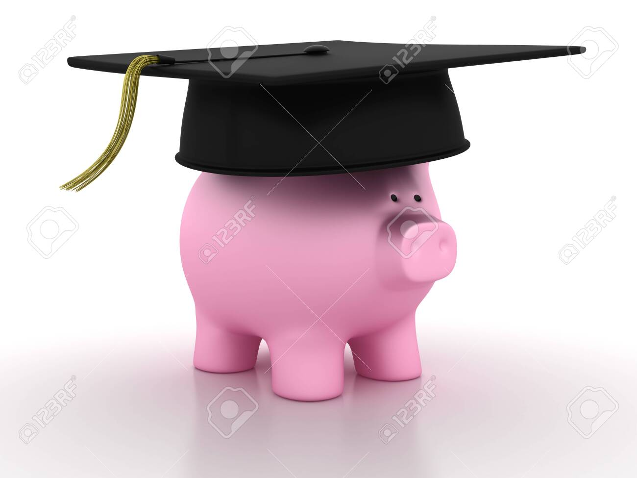 Piggy Bank with Mortarboard - High Quality 3D Rendering - 128391994