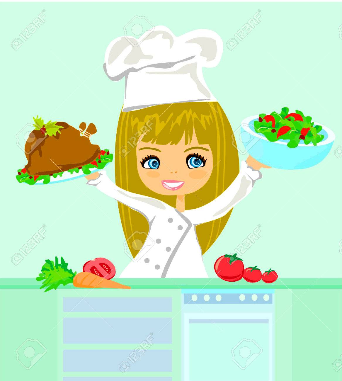 Beautiful girl cooking Stock Vector - 8400801