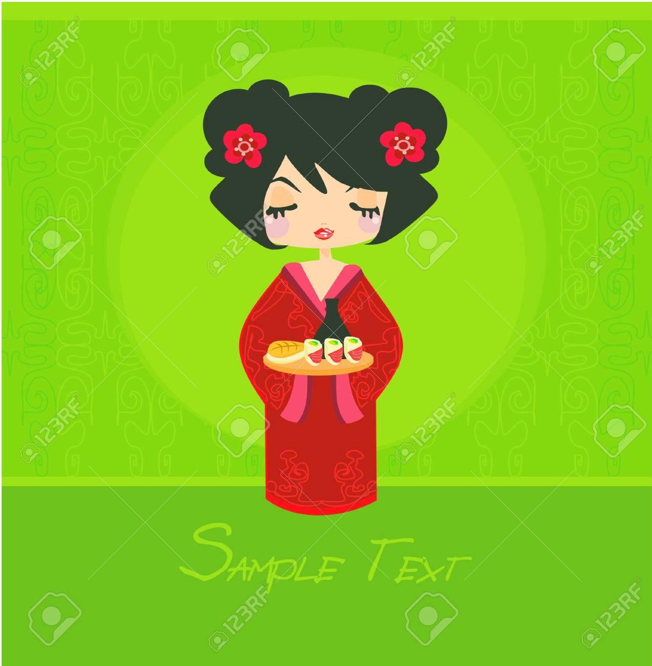 sweet Asian girl enjoy sushi Stock Vector - 8977832