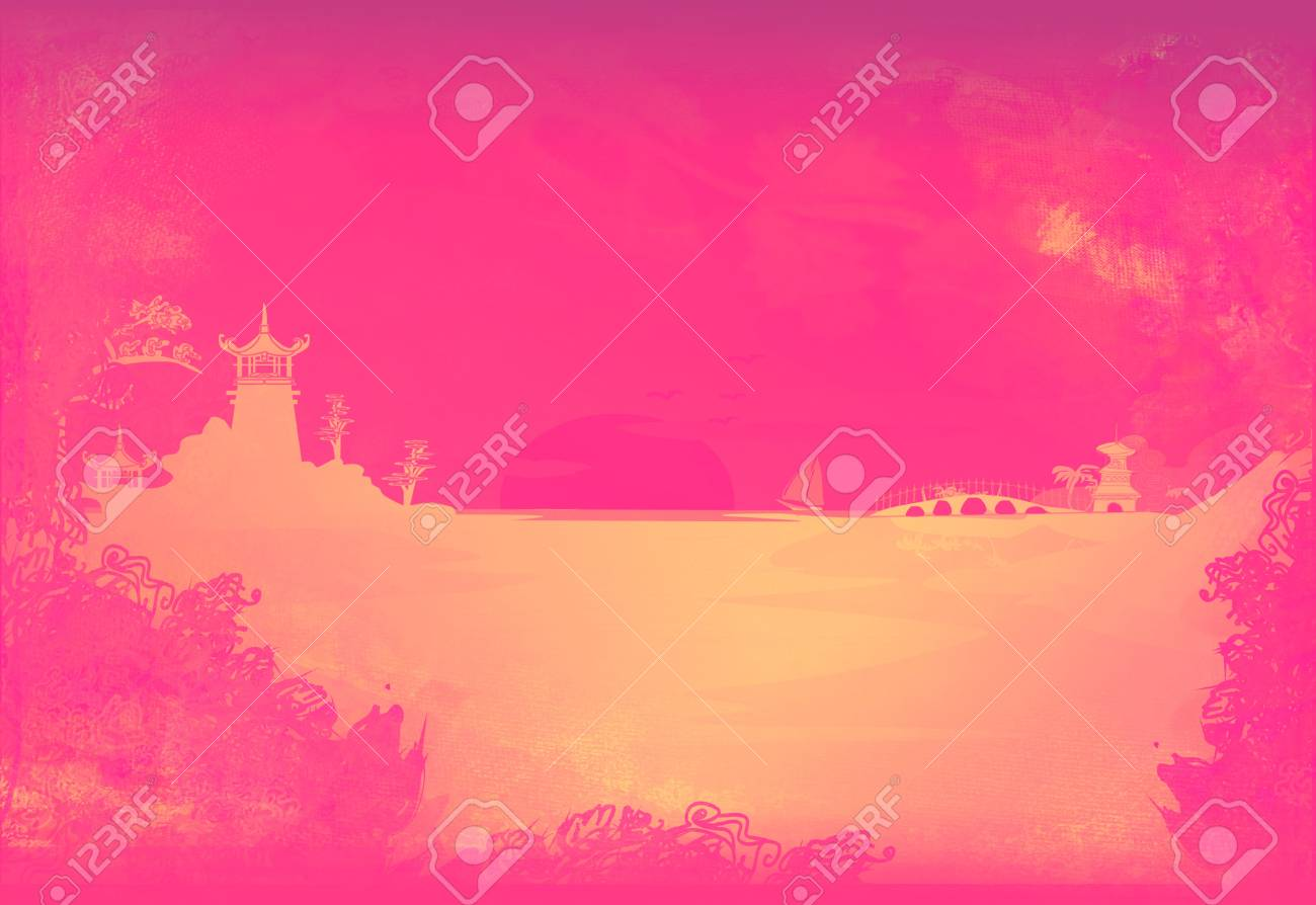 old paper with Asian Landscape Stock Photo - 9048862