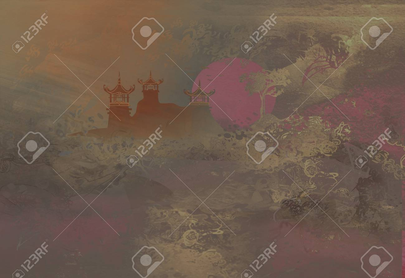 old paper with Asian Landscape Stock Photo - 9213690