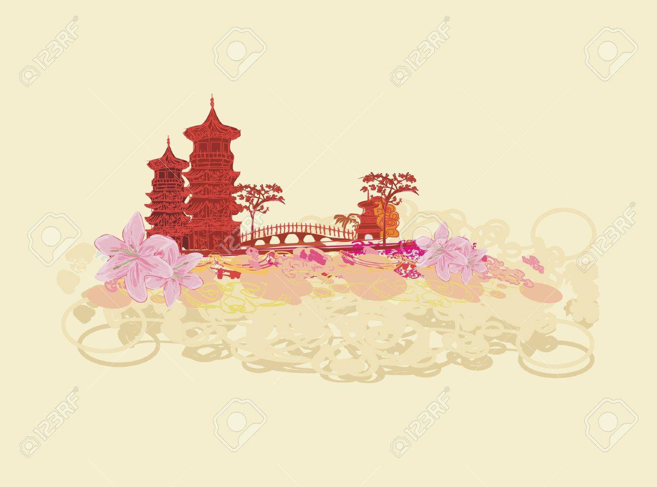 old paper with Asian Landscape Stock Vector - 10074166
